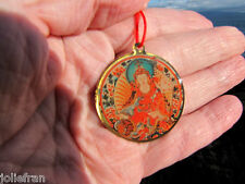 TIBETAN BUDDHIST GURU RINPOCHE PADMASAMBHAVA  & MANTRA PENDANT NECKLACE RED CORD