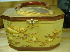 "VINTAGE 1960'S  DECOUPAGE  SHELL BOX PURSE SIGNED ""BILLIE ROSS"" OF PALM BEACHES"