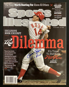 Pete Rose Signed Sports Illustrated 3/10/14 NO LABEL Auto Hit King Inscr JSA 2