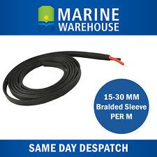 15mm Triple Weave Loom Braided Cable Sleeve per metre  BLACK UV Resistant 7743/m