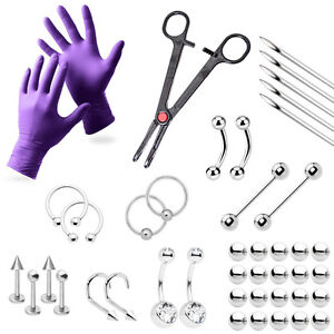 43 Piece Professional Piercing Kit -Belly, Tongue, Nipple, Nose, Eyebrow, Labret