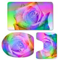 Bathroom Mat Set Flower Pattern 3 Pcs Toilet Seat Lid Cover Contour Rug U-shape