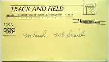 MILDRED McDANIEL 1956 OLYMPIC HIGH JUMP GOLD AUTOGRAPH