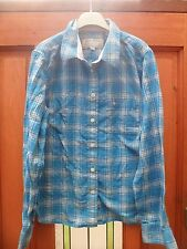 Ladies Jack Wills Blue Cotton Check Shirt Size 14