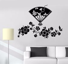 Vinyl Wall Decal Flowers Japanese Fan Room Decor Stickers (673ig)