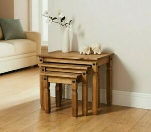 Rio Luxury Nest of 3 Tables 100% Wooden Solid Pine Rustic Finish Furniture New