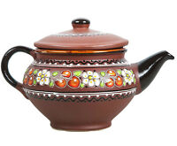 2-Liter Large Stoneware Teapot with Rustic Design Tea Party