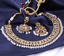 Indian Bollywood Gold Plated Kundan Necklace Earrings Women Wedding Jewelry Set