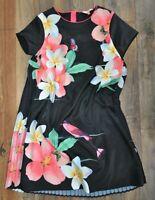Ted Baker DESIGNER Girls Gorgeous Pleat Back Black Floral Shift Dress 14 Years