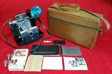 Vintage Polaroid Automatic 100 Land Camera W/Case, Flash, Bulbs & Accessories