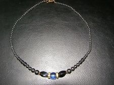 "Hematite With Quartz Design Gemstone Necklace Reiki Healing Crystal 18"" Gift"