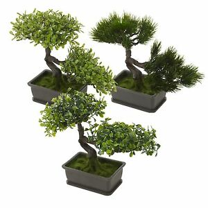 Decorative Artificial Realistic Plastic Desk Faux Bonsai Tree Potted Plant Pot