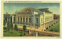 Municipal Auditorium Convention Hall Philadelphia Pennsylvania PA Linen Postcard