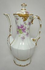 Antique Elite Works Bawo & Dotter Violets Coffee or Chocolate Pot Limoges France