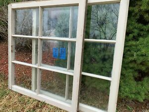 2 - 30 x 27 Vintage Window sash old beige 6 pane From 1970s  Arts & Craft