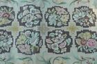 Vintage Hand Hooked Rug Rare Colors Floral Medallions Purples, Browns, Greens
