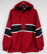 90s Vtg NIKE Men's LG Red/Black Golf Track Hooded 1/2 Zip SWOOSH Jacket Coat