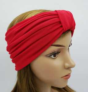 Red headband, wide top knot turban headband for women, viscose jersey headband