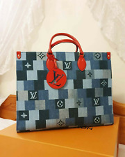 Brand New Louis Vuitton Onthego Tote Bag In Denim, Tote Bag In Denim.