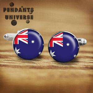 Australia Flag cuff links handmade 16 mm glass cabochon platinum Australian