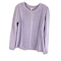 J Crew Popcorn Cable Knit Sweater Purple Pullover Crew Neck Womens Size Medium M
