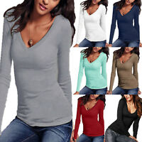 Women's Long Sleeve V Neck Plain T Shirt Ladies Casual Slim Fit Tops Basic Tee