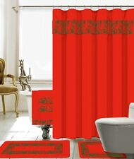 18 Piece Lilian Embroidery Banded Shower Curtain Bath Set (Red)