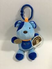 Child of Mine Stuffed Plush Musical Blue Dog Ring Clip on Link Toy Lights Up NEW