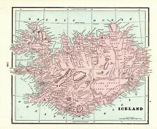1901 Antique ICELAND Map Vintage Map of Iceland Home Decor Gallery Wall Art 7650