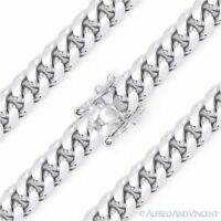 7.2mm Miami Cuban Curb Link Italy .925 Sterling Silver w/ Rhodium Chain Necklace