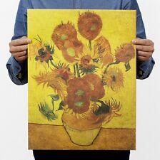 "Poster Vintage Art Wall Decor coffee Shop Van Gogh Sunflower Painting 14""x20"""