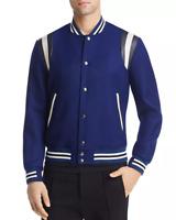 $1650 Paul Smith Men'S Blue Stripe Trim Button Front Varsity Jacket Coat Size S