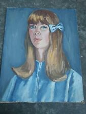 vintage Lady in Blue Portrait Oil Painting by Mary Caruso