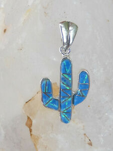Petite Saguaro Cactus Pendant 925 Denim Lapis and Opal Handcrafted Silver NEW