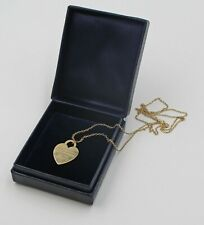 Vintage Return to Tiffany & Co 14K Yellow Gold Heart Charm Tag on Chain W/Box