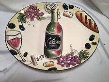 "Clay Art BUON VINO Chip & Dip Set Wine Bottle Grapes NEW 171/4"" x 13 1/2"