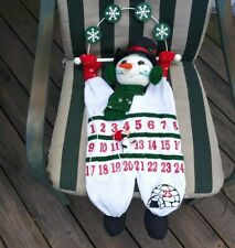 Snowman Vintage Hanging Advent Christmas Countdown Calendar Penguin Annalee