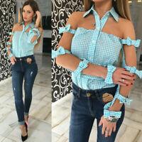 Women Summer Cold Shoulder Short Sleeve Casual Solid Straps Loose Blouse T Shirt