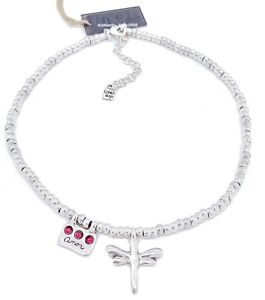 NEW Authentic UNO de 50 Freedom Love Me Dragonfly Red Crystals Beaded Necklace