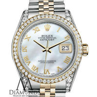 Women's Rolex 31mm Datejust 18K 2 Tone White MOP Mother Of Pearl Roman Numeral