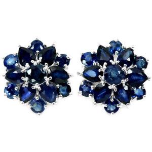 GENUINE AAA BLUE SAPPHIRE PEAR & ROUND STERLING 925 SILVER FLOWER EARRING