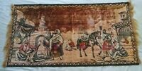 Antique Tapestry Busy Arabian City Or Market Scene -- with wear & 2 small holes
