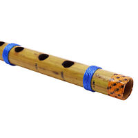Wooden Bansuri Musical Instrument Handmade Traditional Bamboo Brown Flute Decor