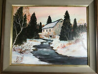 """Nice Charles Thomas Garland """"Winter Mill And Stream"""" Oil Painting- Signed/Framed"""