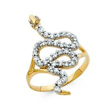 Snake Ring Solid 14k Yellow Gold Serpent Band CZ Stylish Curve Polished Fancy
