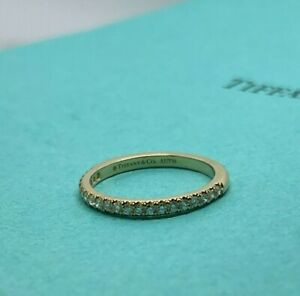 Tiffany & Co 18k Yellow Gold Soleste Diamond Half Eternity Band Ring 5.5
