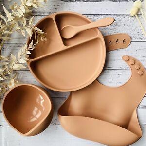 Baby Silicone Feeding Set BIB BOWL PLATE SPOON Divider BPA FREE Suction Base