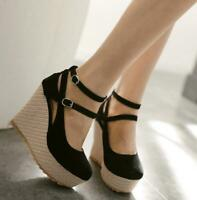 Hot Womens Stylish Platform High Wedge Heels Ankle Strap Round Toes Pumps Shoes