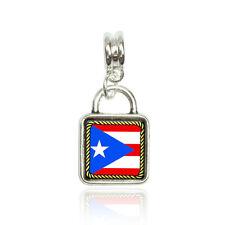 Flag of Puerto Rico Euro European Italian Style Bracelet Bead Sqr Charm