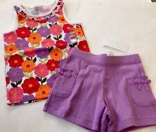 Nwt Gymboree 2pc Outfit Summer Purple Pink Orange Floral Top/Purple Shorts 4/4T